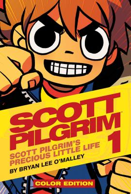 Cover of Scott Pilgrim 1 showing Scott Pilgrim grinning with his fists up