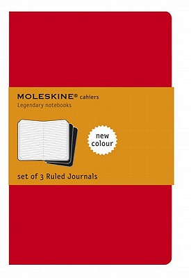 Moleskine Cahier Journal (Set of 3), Large, Ruled, Cranberry Red, Soft Cover (5 x 8.25) (Cahier Journals) Cover Image