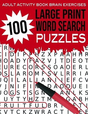 Adult Activity Book Brain Exercises 100 Large Print Word Search Puzzles: Red - Brain Booster Entertainment Cover Image