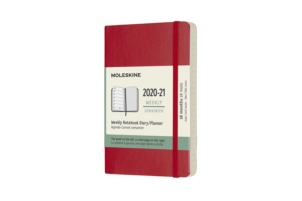 Moleskine 2020-21 Weekly Planner, 18M, Pocket, Scarlet Red, Soft Cover (3.5 x 5.5) Cover Image