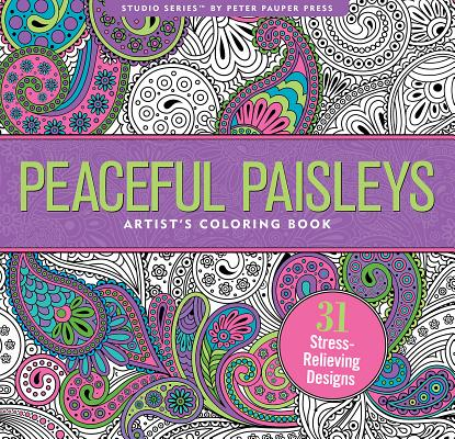 Peaceful Paisleys Adult Coloring Book Cover Image