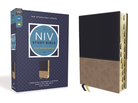NIV Study Bible, Fully Revised Edition, Leathersoft, Navy/Tan, Red Letter, Thumb Indexed, Comfort Print Cover Image
