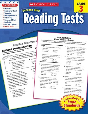 Scholastic Success With Reading Tests: Grade 3 Workbook Cover Image