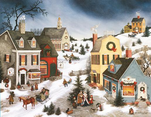 Caroling in the Village Christmas Cards Cover Image