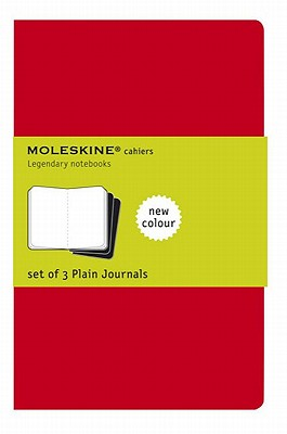 Moleskine Cahier Journal (Set of 3), Large, Plain, Cranberry Red, Soft Cover (5 x 8.25) (Cahier Journals) Cover Image