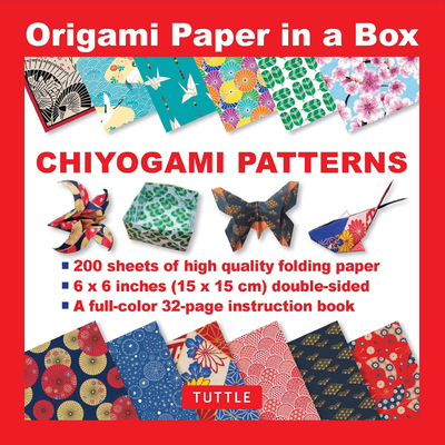Origami Paper in a Box - Chiyogami Patterns: 200 Sheets of Tuttle Origami Paper: 6x6 Inch High-Quality Origami Paper Printed with 12 Different Pattern Cover Image
