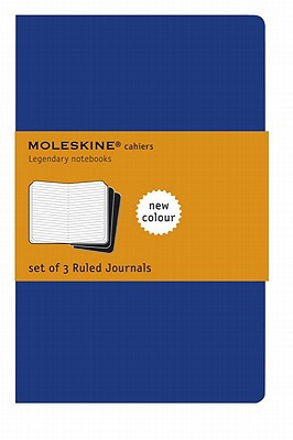 Moleskine Cahier Journal (Set of 3), Large, Ruled, Indigo Blue, Soft Cover (5 x 8.25) (Cahier Journals) Cover Image