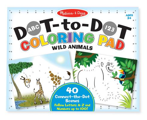 ABC - 123 Dot-To-Dot Coloring Pad - Wild Animals Cover Image