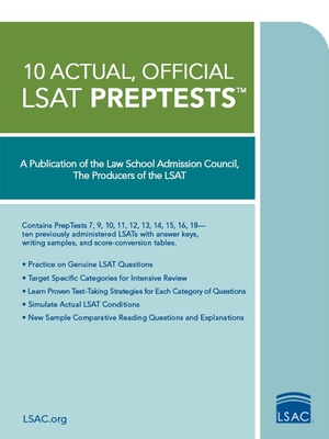 10 Actual, Official LSAT Preptests: (preptests 7,9,10,11,12,13,14,15,16,18) Cover Image