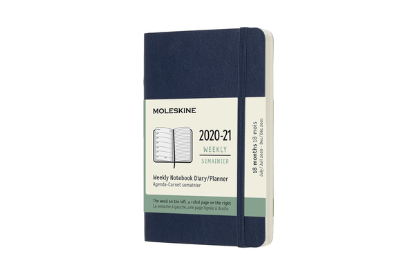 Moleskine 2020-21 Weekly Planner, 18M, Pocket, Sapphire Blue, Soft Cover (3.5 x 5.5) Cover Image
