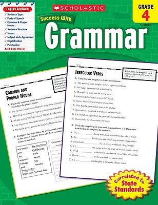 Scholastic Success With Grammar: Grade 4 Workbook Cover Image