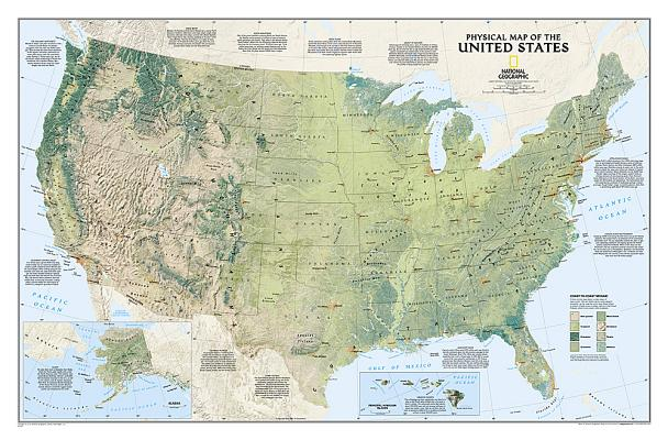 National Geographic: United States Physical Wall Map - Laminated (38.25 X 25.25 Inches) Cover Image