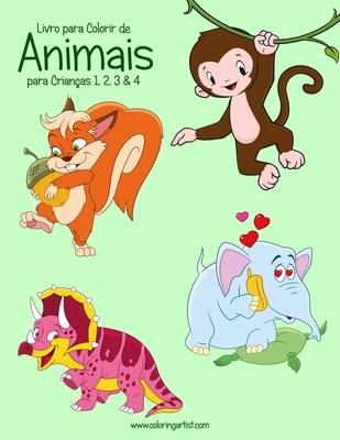 Livro para Colorir de Animais para Crianças 1, 2, 3 & 4 Cover Image