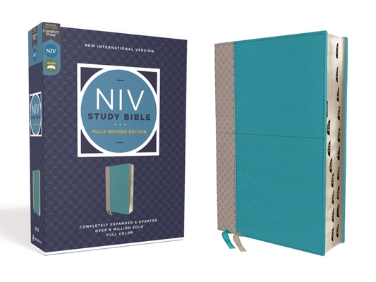 NIV Study Bible, Fully Revised Edition, Leathersoft, Teal/Gray, Red Letter, Thumb Indexed, Comfort Print Cover Image
