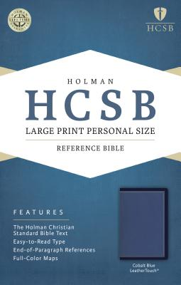 Cover for HCSB Large Print Personal Size Bible, Cobalt Blue LeatherTouch