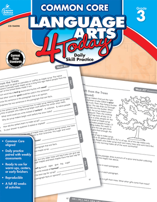 Common Core Language Arts 4 Today, Grade 3 (Common Core 4 Today) Cover Image