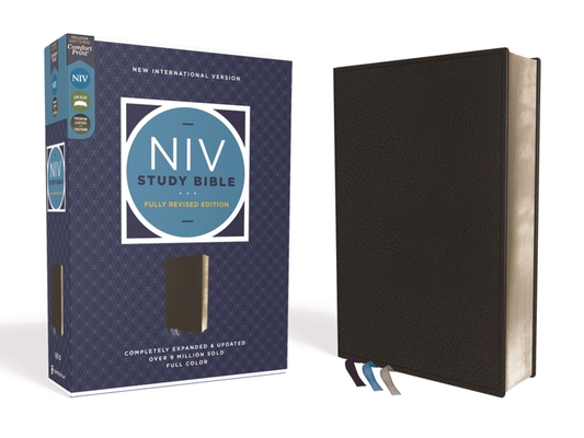 NIV Study Bible, Fully Revised Edition, Genuine Leather, Calfskin, Black, Red Letter, Comfort Print Cover Image