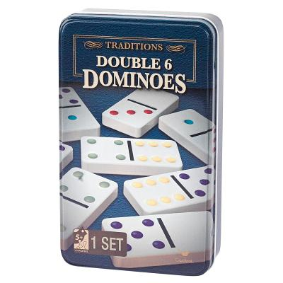 Traditions Double 6 Dot Dominoes in Tin Cover Image