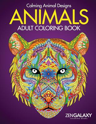 Animals: Adult Coloring Book: Calming Animal Designs Cover Image