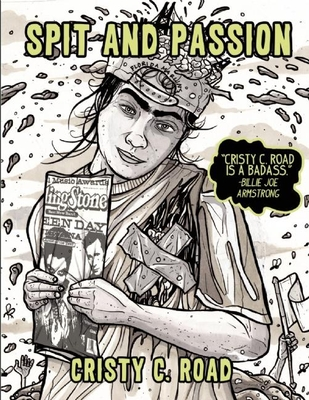 Cover of Spit and Passion - Ink drawing of a woman with a Rolling Stone magazine with Green Day on the cover and the top of her head through her backward FL Marlins cap is an exposed brain with the Golden Gate Bridge bursting form it