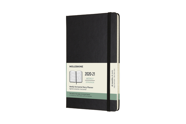 Moleskine 2020-21 Weekly Horizontal Planner, 18M, Large, Black, Hard Cover (5 x 8.25) Cover Image