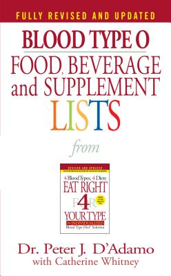 Blood Type O Food, Beverage and Supplement Lists (Eat Right 4 Your Type) Cover Image