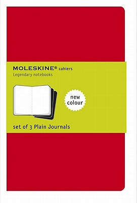 Moleskine Cahier Journal (Set of 3), Extra Large, Plain, Cranberry Red, Soft Cover (7.5 x 10) (Cahier Journals) Cover Image