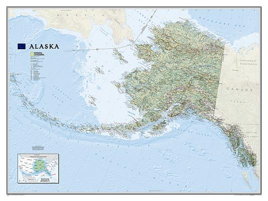National Geographic: Alaska Wall Map (40.5 X 30.25 Inches) (National Geographic Reference Map) Cover Image