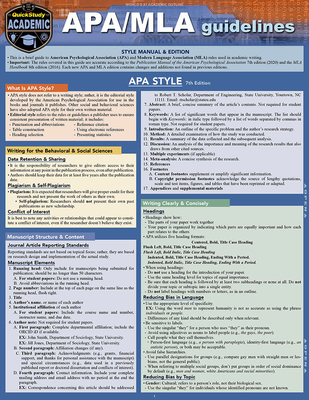 Apa/MLA Guidelines - 7th/8th Editions: A Quickstudy Laminated Reference Guide Cover Image