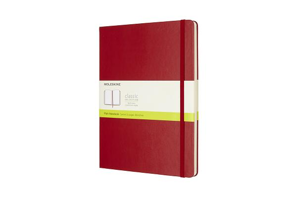 Moleskine Classic Notebook, Extra Large, Plain, Scarlet Red, Hard Cover (7.5 x 10) Cover Image