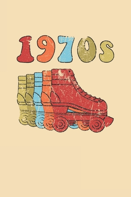 1970s Roller Skates Notebook: Cool & Funky 70s Roller Skating Notebook - Retro Vintage Repeat - Red Orange Sky Blue Sand Cover Image