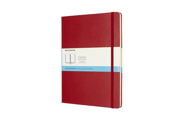 Moleskine Classic Notebook, Extra Large, Dotted, Scarlet Red, Hard Cover (7.5 x 10) Cover Image