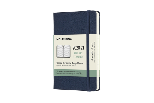 Moleskine 2020-21 Weekly Horizontal Planner, 18M, Pocket, Sapphire Blue, Hard Cover (3 x 5.5) Cover Image