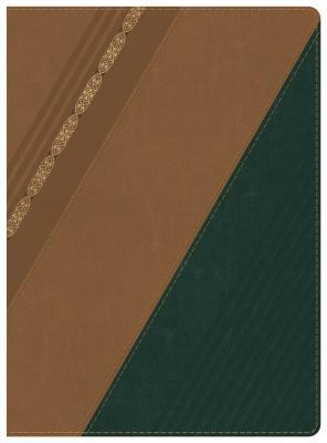 Cover for RVR 1960 Biblia de Estudio Holman, castaño/verde bosque con filigrana símil piel