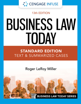 Cengage Infuse for Miller's Business Law Today, Standard: Text & Summarized Cases, 2 Terms Printed Access Card Cover Image