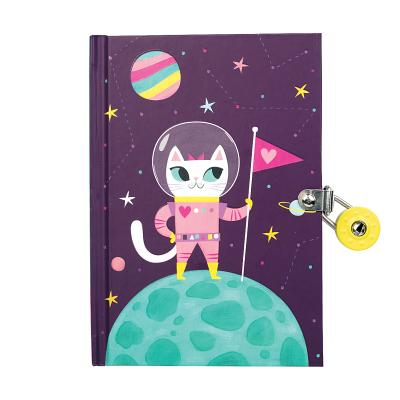 Space Cat Glow-in-the-Dark Locked Diary Cover Image