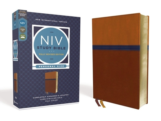 NIV Study Bible, Fully Revised Edition, Personal Size, Leathersoft, Brown/Blue, Red Letter, Comfort Print Cover Image