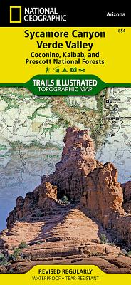 Sycamore Canyon, Verde Valley [Coconino, Kaibab, and Prescott National Forests] (National Geographic Trails Illustrated Map #854) Cover Image