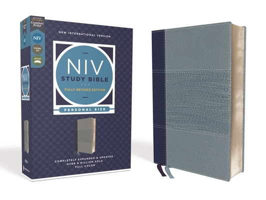 NIV Study Bible, Fully Revised Edition, Personal Size, Leathersoft, Navy/Blue, Red Letter, Comfort Print Cover Image