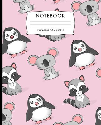Notebook: Baby koala Penguin Racoon pattern Composition Notebook with Cursive Paper. 100 pages Cursive Paper Book 7.5 x 9.25 inc Cover Image