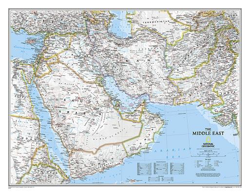National Geographic: Middle East Classic Wall Map (30.25 X 23.5 Inches) (National Geographic Reference Map) Cover Image