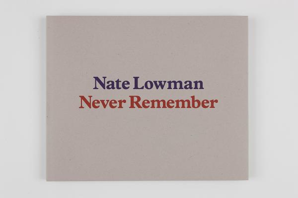 Nate Lowman: Never Remember Cover Image