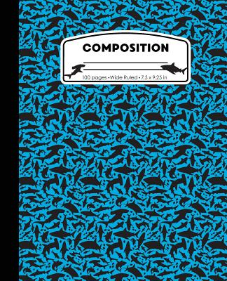 Composition: Shark Light Blue Marble Composition Notebook Wide Ruled 7.5 x 9.25 in, 100 pages book for boys and girls, kids, school Cover Image