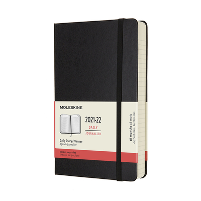 Moleskine 2021-2022 Daily Planner, 18M, Large, Black, Hard Cover (5 x 8.25) Cover Image