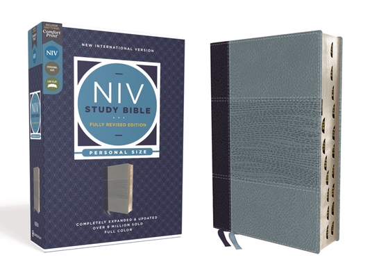 NIV Study Bible, Fully Revised Edition, Personal Size, Leathersoft, Navy/Blue, Red Letter, Thumb Indexed, Comfort Print Cover Image