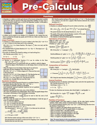Pre-Calculus: A Quickstudy Reference Guide Cover Image