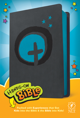 Hands-On Bible NLT (Leatherlike, Dark Gray/Blue Cross) Cover Image