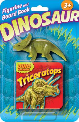 Dino Figurine + Board Book Triceratops Cover Image