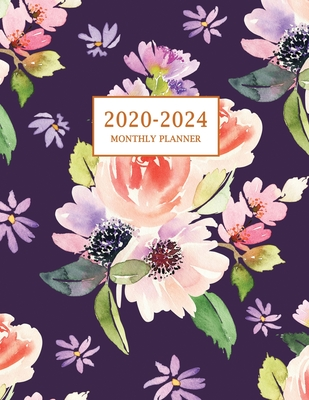 2020-2024 Monthly Planner: Large Five Year Planner with Floral Cover (Volume 4) Cover Image