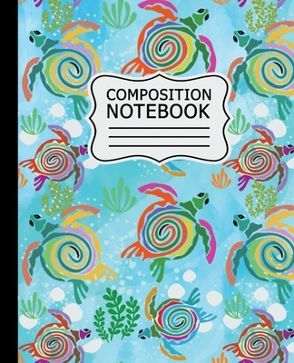Composition Notebook: Colorful Abstract Sea Turtles on Light Blue Background - 7.5